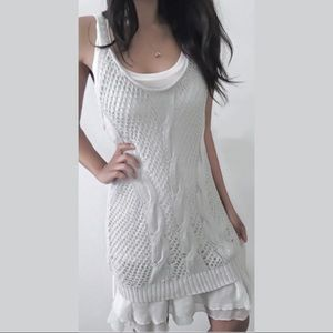 free people / ramie gray ruffle lace up knit dress